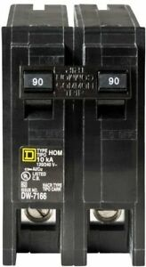 Square D Homeline 90 amp 2 pole Electrical Main Circuit Breaker trip Protection