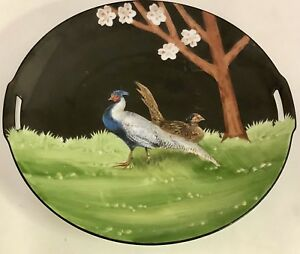 Antique Rs Tillowitz 11 Hand Painted Handled Cake Plate W Pheasant Germany
