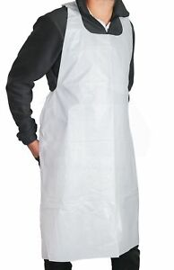 Apron Plastic Disposable Heavy Weight White Poly 2 Mil 50 Pieces