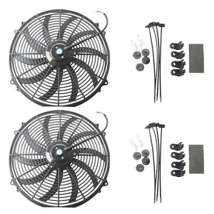 2x 16 Inch Universal Slim Fan Push Pull Electric Radiator Cooling 12v Mount Kit