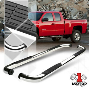 Chrome 3 Round Side Step Nerf Bar For 99 16 Gmc Sierra Silverado Extended Cab