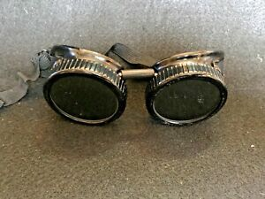 Vintage Welding Safety Goggles Welders Clear Dark Green Glass Lens