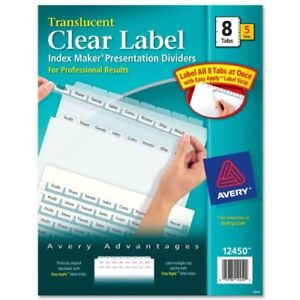 Avery Index Maker Easy Apply Clear Label Divider Blank 8 ave12450