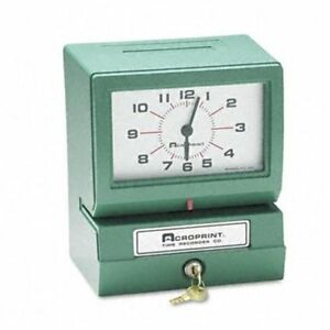 Acro Print Time Recorder 012070413 Model 150 Analog Automatic Print Time Clock