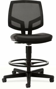 Hon Volt Mesh leather Task Stool W footring Leather Black Seat 5715sb11t