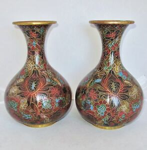 Antique 9 1 Pair Of Chinese Brown Green Red Cloisonne Vases With Flowers