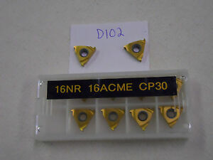 10 New Seco 16nr 16acme Threading Carbide Inserts Grade P30 d102