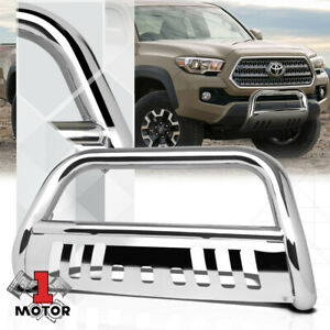 Chrome 3 Front Bumper Bull push Bar Brush Grille Guard For 16 17 Toyota Tacoma