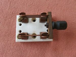 Vintage Sensory Industrial Railroad Copper Porcelain Double Throw Knife Switch