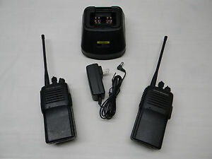 Pair Of Vertex Vx 160 Uhf Two way Portable Radios With Charging Base 624