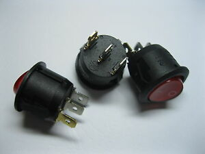 100 Pcs Rocker Switch 3pin 6a On off Circular Black Red Cap With Red Led Light