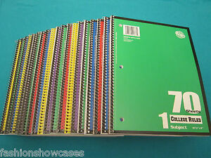 Spiral Notebook 1 Subject 70 Sheets College Ruled 24 Spiral Notebooks Lot