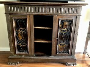 Antique Solid Carved Wood Console With Two Locking Cabinet Doors