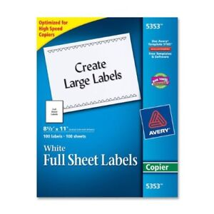Avery Copier Mailing Label 8 50 Width X 11 Length 100 Box ave5353