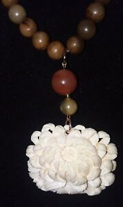 Old Chinese White Cinnabar Lotus Flower Pendant Agate And Jade Bead Necklace