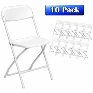10 White Commercial Plastic Folding Chairs Premium Portable Wedding Party Chair