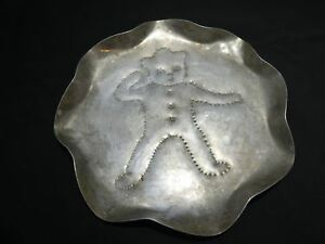 1950 S Tin Punched Folk Art Round Bowl Ginger Man Signed Dated 1958