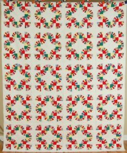 Colorful Vintage 40 S Chinese Fans Mohawk Trail Antique Quilt Great Design