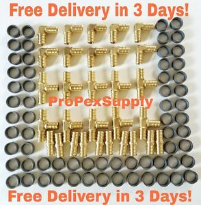 100 Pcs 1 Pex Crimp Fittings W copper Crimp Rings Lead Free