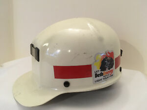 Vintage Msa Protective Hard Hat Helmet White Bethenergy Mines Mftd 1969 Used