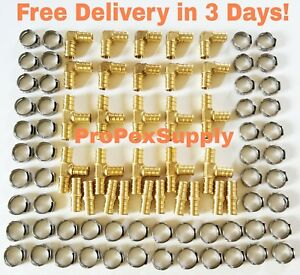 100 Pcs 5 8 Pex Brass Fittings W Stainless Steel Cinch Clamps Lead Free
