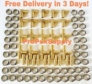 100 Pcs 3 8 Pex Brass Fittings W Stainless Steel Cinch Clamps Lead Free