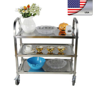 3 shelf Commercial Stainless Steel Kitchen Restaurant Utility Buffet Cart Wheel