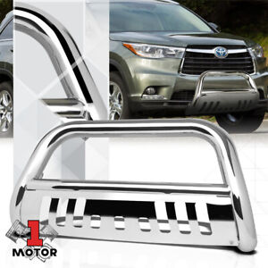 Chrome 3 Front Bumper Bull Bar Brush Grille Guard For 14 16 Toyota Highlander