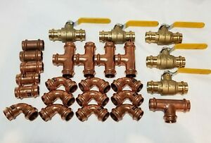 lot Of 25 1 Propress Copper Fittings tees Elbows Coupling Press Ball Valv