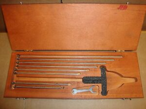 Starrett Set Of 8 Rods Case For 445 3 Depth Micrometer Nice
