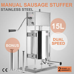 15l Vertical Sausage Stuffer Two Speed Stainless Steel Meat Press 304 Silver