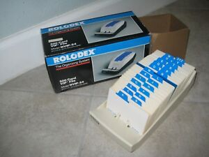 Vintage New Nib Rolodex 500 Card Vip File Nvip 24 Putty Desktop Address Book
