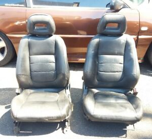 94 01 Acura Integra Black Leather Front Seats Passenger Driver Right Left Pair