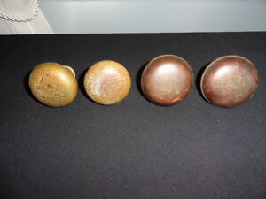 Lot Of 4 Vintage Antique Rustic Art Deco Heavy Brass Door Knobs With Aged Patina