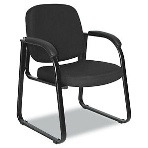 Alera Reception Lounge Series Sled Base Guest Chair Black Fabric