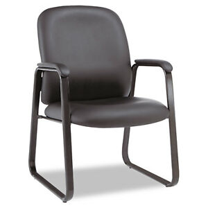 Alera Genaro Series Guest Chair Black Leather Sled Base