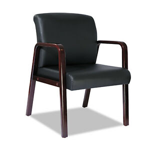 Alera Reception Lounge Series Guest Chair Mahogany black Leather