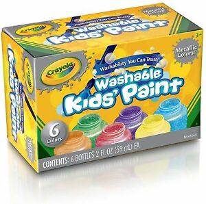 Crayola Washable Metallic Paint Set 6 Ea pack Of 4