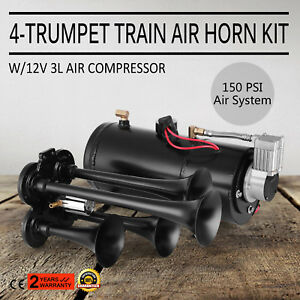 4 Trumpet Train Air Horn Kit W 150psi Compressor 3 Liters Quad Boat Truck