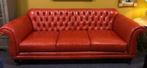 New Custom Nc Made Tomato Red Italian Leather Tufted Sofa Compare To 6 169