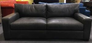 New Custom Made In Nc Distressed Grey Itailian Leather Sofa Compare To 4 199