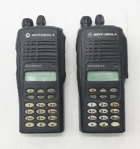Lot 2 Motorola Ht1250 Ls Uhf 450 512mhz 4w 16ch Two way Radio Aah25sdh9du6an