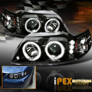 For 1999 2004 Ford Mustang Halo Rim Projector Black Headlights Headlamps Set
