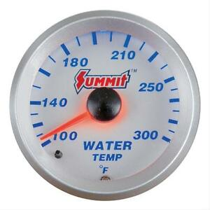 Summit Electrical Water Temperature Gauge 2 1 16 Dia Silver Face G2883