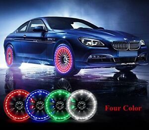 Car Tire Wheel Lights 4pcs Solar Valve Colorful Led Motorcycles Bicycles Caps