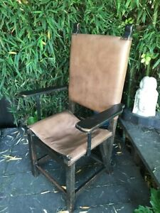 Antique 1920s Spanish Colonial Captain Chair Very Sturdy Oak Iron