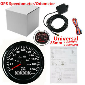 Universal 3 3 8 Gps 200mph 300km h Speedometer Gauge Red Led Backlight For Car