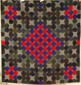 Unusual Vintage 1910 S 9 Patch Checkerboard Antique Quilt Dense Embroidery
