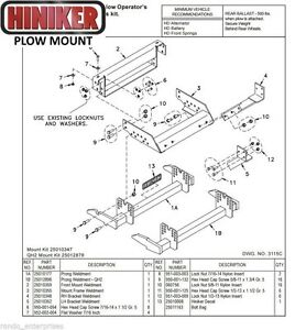 Hiniker Snowplow Mount Dodge 4 X 4 72 93 W150 250 350 Quick Hitch2 25012878