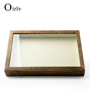 Oirlv Wooden Jewelry Case With Glass Cover Jewelry Storage Necklace Flat Tray